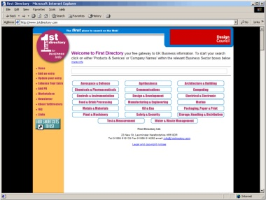 Website Screen Shot from 2001