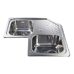 Stainless Steel Double Bowl Corner Sink image