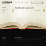 Screen shot of the Evans, Des website.