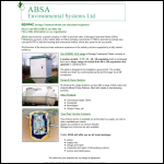 Screen shot of the ABSA Environmental Systems Ltd website.