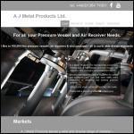 Screen shot of the A J Metal Products Ltd website.