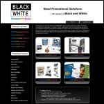 Screen shot of the Black & White Promotional Print Services website.