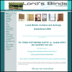 Screen shot of the Lords Blinds & Awnings website.