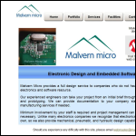 Screen shot of the Malvern Micro website.