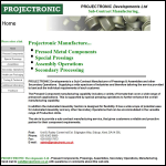 Screen shot of the Projectronic Developments Ltd website.