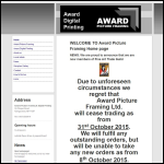 Screen shot of the Award Picture Framing website.