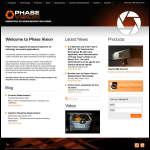 Screen shot of the Phase Vision Ltd website.