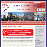Screen shot of the Laser Alarms Ltd website.