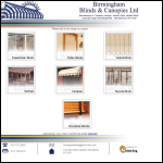 Screen shot of the Birmingham Blinds & Canopies Ltd website.