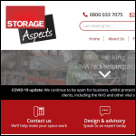 Screen shot of the Storage Aspects Ltd website.