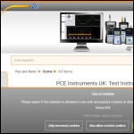 Screen shot of the PCE Instruments UK Ltd website.