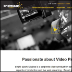 Screen shot of the Bright Spark Studios Ltd website.