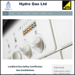Screen shot of the Hydro Gas Ltd website.