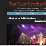 Screen shot of the CuePlay Productions website.