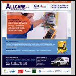 Screen shot of the Allcare Facilities Management Ltd website.