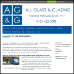 Screen shot of the All Glass & Glazing website.