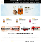 Screen shot of the Myreen Young skincare website.
