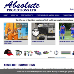 Screen shot of the Absolute Promotions Ltd website.