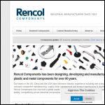 Screen shot of the Rencol Components Ltd website.