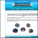 Screen shot of the Alltype Hose & Couplings Ltd website.