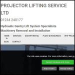 Screen shot of the Projector Lifting Service Ltd website.