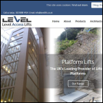 Screen shot of the Level Access Lifts Ltd website.