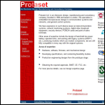 Screen shot of the Protaset Ltd website.