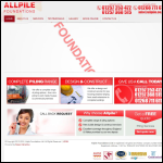 Screen shot of the Allpile Foundations Ltd website.