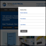 Screen shot of the Total Electrical Training Ltd website.