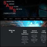 Screen shot of the SAMS Fabrications Ltd website.