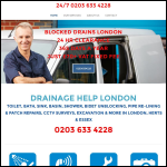 Screen shot of the Drainage Help London website.