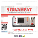 Screen shot of the Servaheat website.