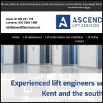 Screen shot of the Ascend Lift Services Ltd website.