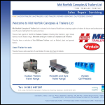 Screen shot of the Mid Norfolk Canopies & Trailers website.