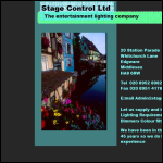 Screen shot of the Stage Control Ltd website.