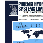 Screen shot of the Phoenix Hydraulic Systems Ltd website.
