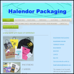 Screen shot of the Halendor Packaging website.