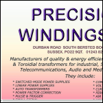 Screen shot of the Precision Windings Ltd website.