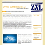 Screen shot of the Zytec Systems Ltd website.