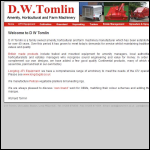 Screen shot of the D W Tomlin Agricultural Machinery website.