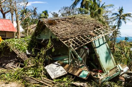 Hut destroyed by Typhoon Haiyan
