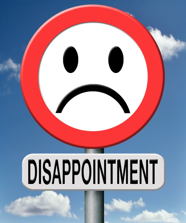 disappointment disappointed in people in gouvernment,in brand, church ,or society. Disappointing medical or sports results